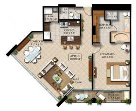 1 bedroom apartments, 2 bathroom, 2-4 person, 110 sq.meters